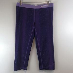 Womens Nike Pro Capri Leggings Size XL Purple Spot